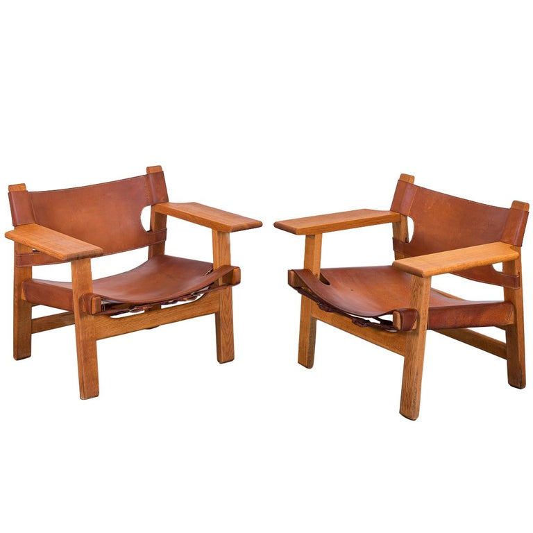 Pair of Børge Mogensen Spanish Chairs for Fredericia Stolefabrik