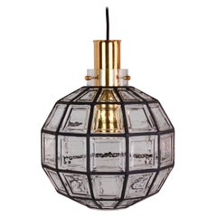 Limburg 'New Old Stock' Large Iron and Clear Glass Round Pendant Light