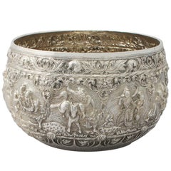 1880s Antique Burmese Silver Thabeik Bowl