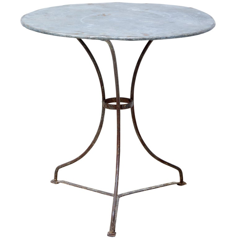 1920s Round Metal Bistro Table For Sale