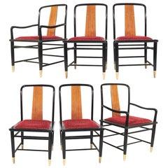 Henredon Elan Koa Wood Asian Chinoiserie Chairs, Set of Six