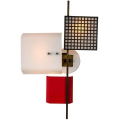 Large 1950s 3-Panel Wall Light Attributed to Oscar Torlasco