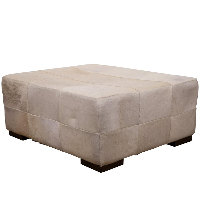 Large White Patchwork Cowhide Ottoman