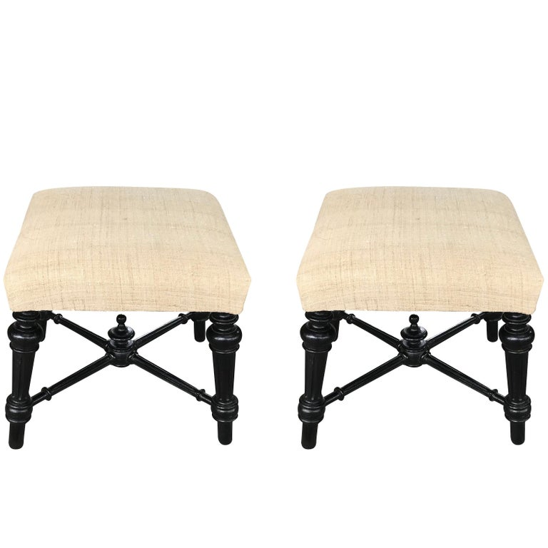 French Napoleon III Pair of Footstools, France, 19th Century