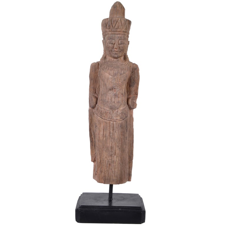 Hand-Carved Buddha Sculpture Mounted on Wooden Base