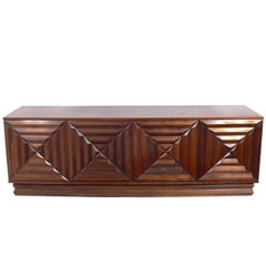 Midcentury Walnut Credenza with Geometric Carved Doors