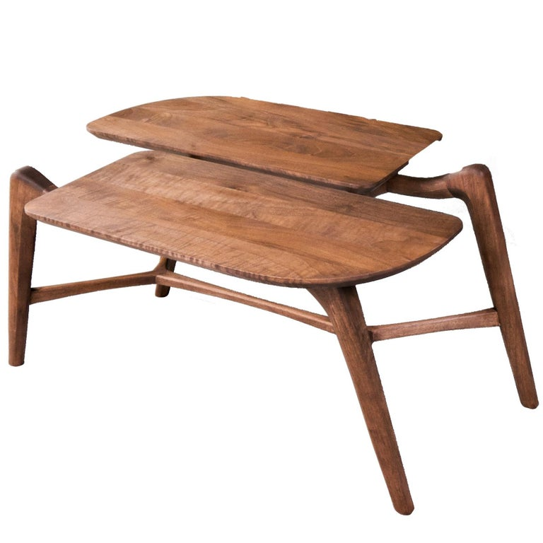 Tisa Small, Contemporary Solid Wood Coffee or Side Table in Walnut