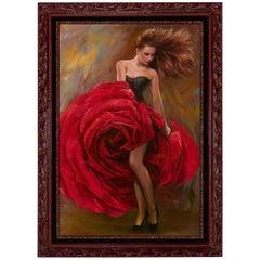 Original Painting, Spanish Rose by our Studio Artist Mia Orlova, Modern Art