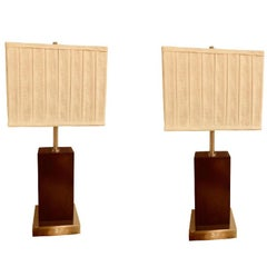 Pair of Mid-Century Modern Chrome and Wood Base Table Lamps with Matching Shade