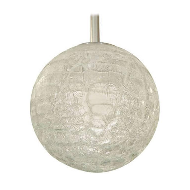 Large Doria Organic Crackle Glass Globe Pendant