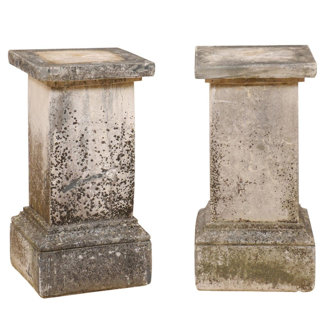 Pair Of French Cast Stone Garden Pedestals For Sale