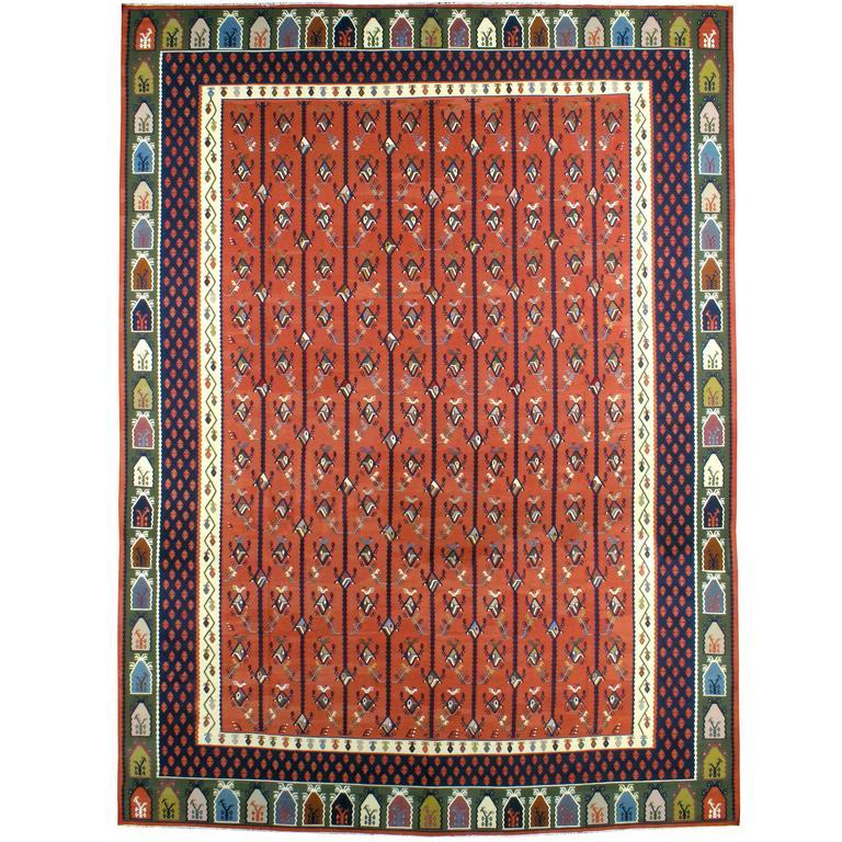 Vintage Turkish Flat Weave Rug: Vintage Turkish Sarkoy Kilim Flat-Weave Rug For Sale At