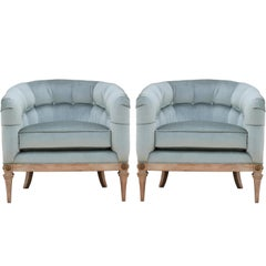 Pair of French Light Blue Velvet and Neutral Finish Barrel Back Lounge Chairs