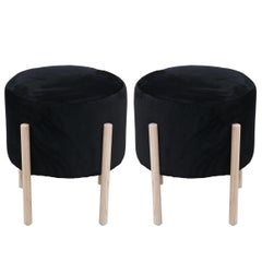 Pair of Custom Round Black Velvet and Neutral Finish Ottomans / Footstool Poufs