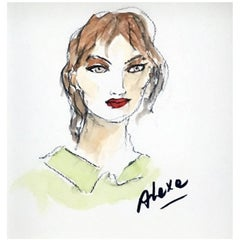 Alexa Chung, Watercolor on Archival Paper, 2016