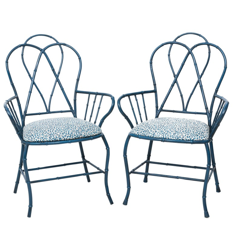 Pair of Chinoiserie Blue Faux Bamboo Metal Armchairs