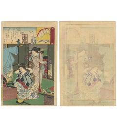Geisha & Oiran Japanese Woodblock Print Ukiyo-E Series by Toyohara Chikanobu