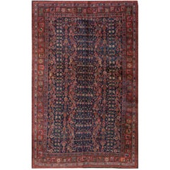 Early 20th Century Red, Blue Persian Bidjar Carpet