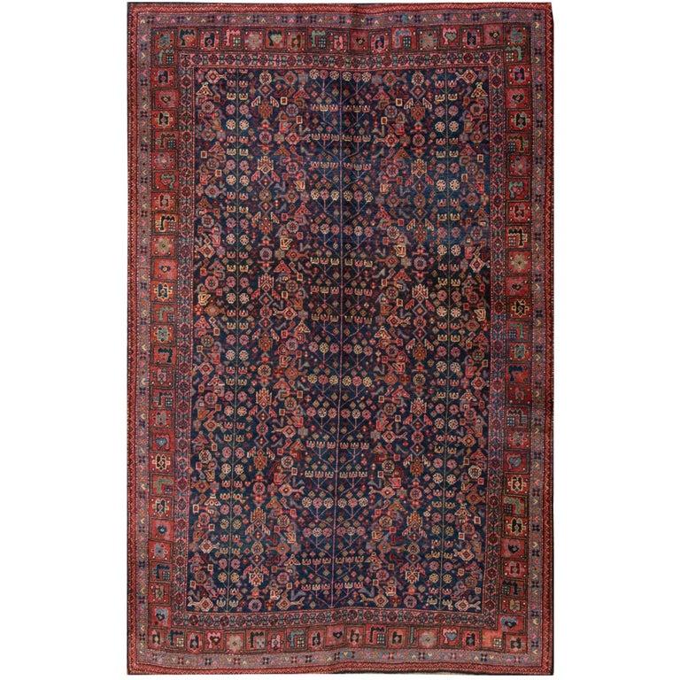 20th Century Red and Blue Persian Bidjar Carpet