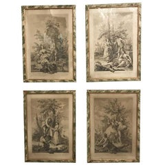 Amigoni Set of Four Italian Engravings circa 1730 Four Elements Allegory Framed