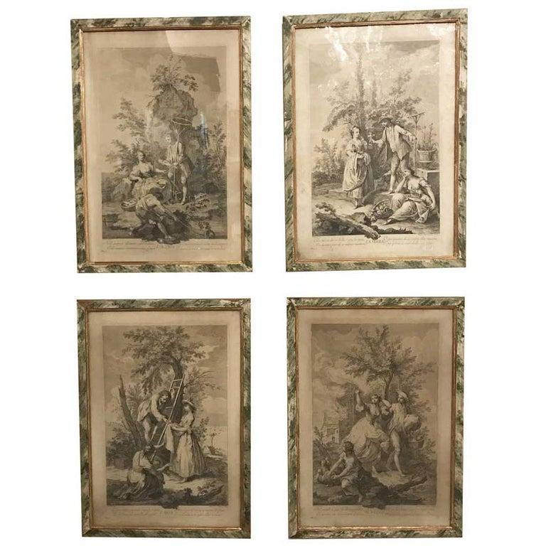 Amigoni Set of Four Italian Engravings circa 1730 Four Elements Allegory Framed