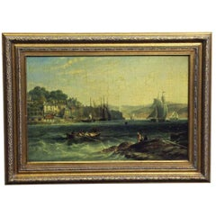 Antique Ornate Framed Nautical Style Sea Painting