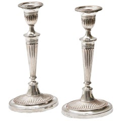 Pair of Victorian Sheffield Silver Plate Neoclassical Candlesticks, circa 1850