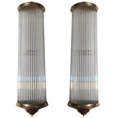 French Art Deco Modernist Clear Glass Rod Sconces by Petitot
