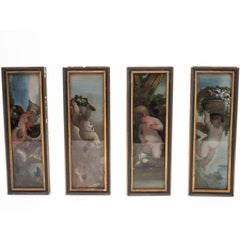 Set of Four Églomisé Painted Panels