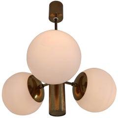 Mid-Century Modernist Sputnik Chandelier with Three Handblown Opal Glass Globes