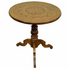 Antique Italian Sorrentino Parquetry Inlaid Round Pedestal Centre Table