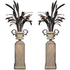Spectacular Pair of Metal, Evergreen Plants