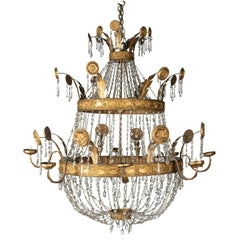 Late 18th Early 19th Century Spanish Theatre Two-Tier Basket Chandelier