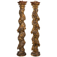 Pair of Early 18th Century Green and Gold Italian Giltwood Solomonic Columns