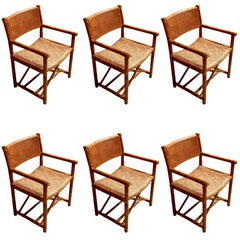 "Six McGuire ""X"" Base Campaign Style Dining Chairs"
