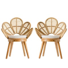 Pair of Rattan and Wooden Armchairs