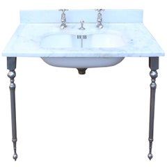Antique 'Shanks' Marble Basin with Stand