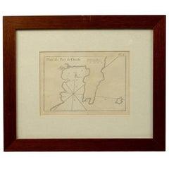 Antique Portolano of Plan du Port de Cherfe by Antoine Roux France, 1844