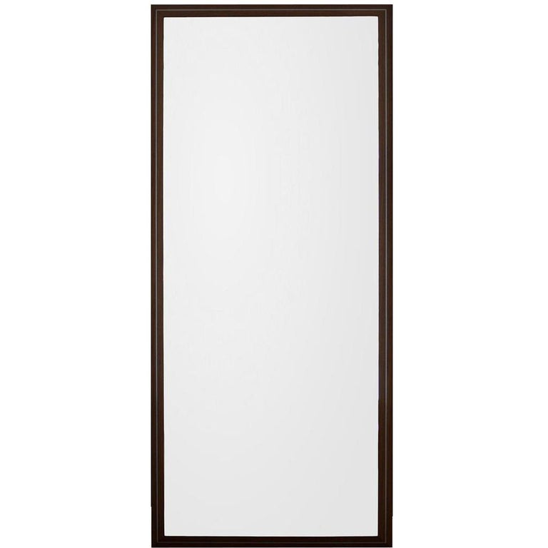 Contemporary Handmade Large Rectangular Mirror in Walnut with Steel Decor
