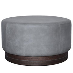 Contemporary Large Pouf in Leather on Smoked Oak Base with Steel Decor