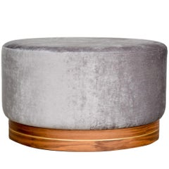 Contemporary Large Pouf in Velvet on Walnut Base with Steel Decor