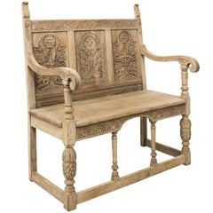 Bleached Oak Carved Jacobean Bench, circa 1902