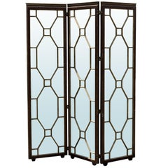 Hollywood Regency Style Mirrored Screen