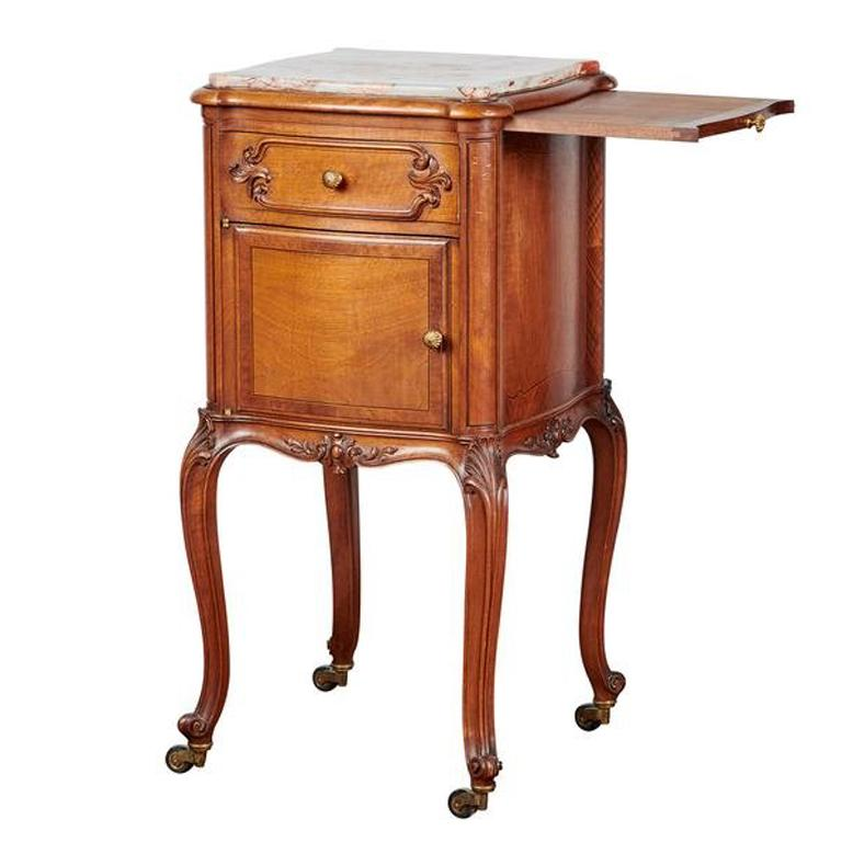 19th Century Louis XV French Oak Bedside Tables or Nightstands