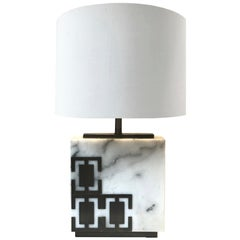Hector White Marble Table Lamp with Detialing