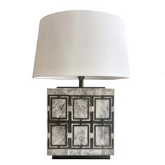 Hector Grey Marble Table Lamp with Detailing