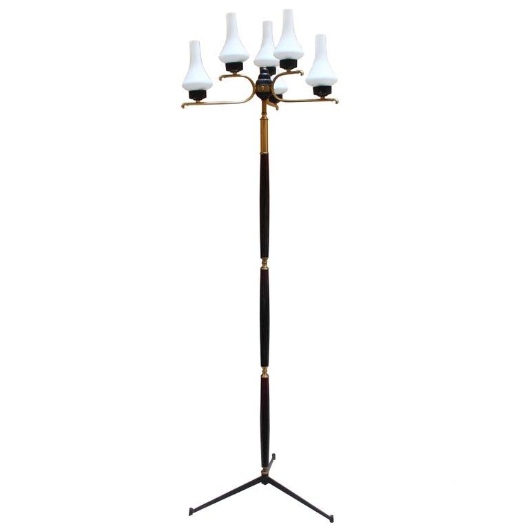 Italian Uplighter Floor Lamp in Opaline Glass, 1950s