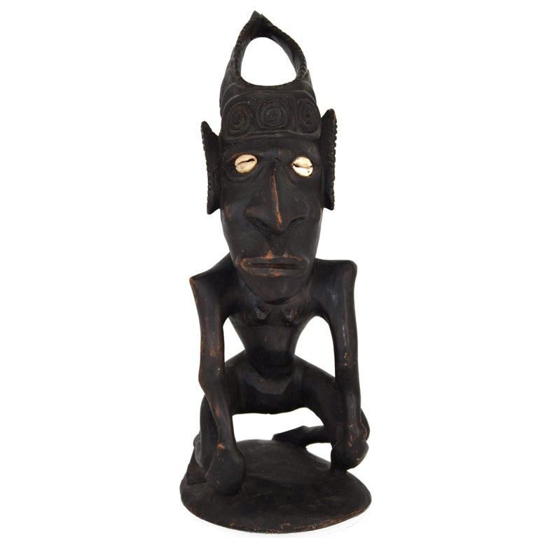 Wooden Sculpture of Male Figure from Papua, New Guinea For Sale