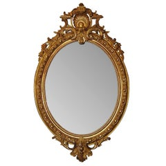 19th Century French Louis XV Oval Gilt Wood Mirror