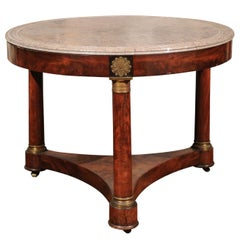 French Empire 1850s Center Table with Marble Top, Column Legs and Ormolu Accents